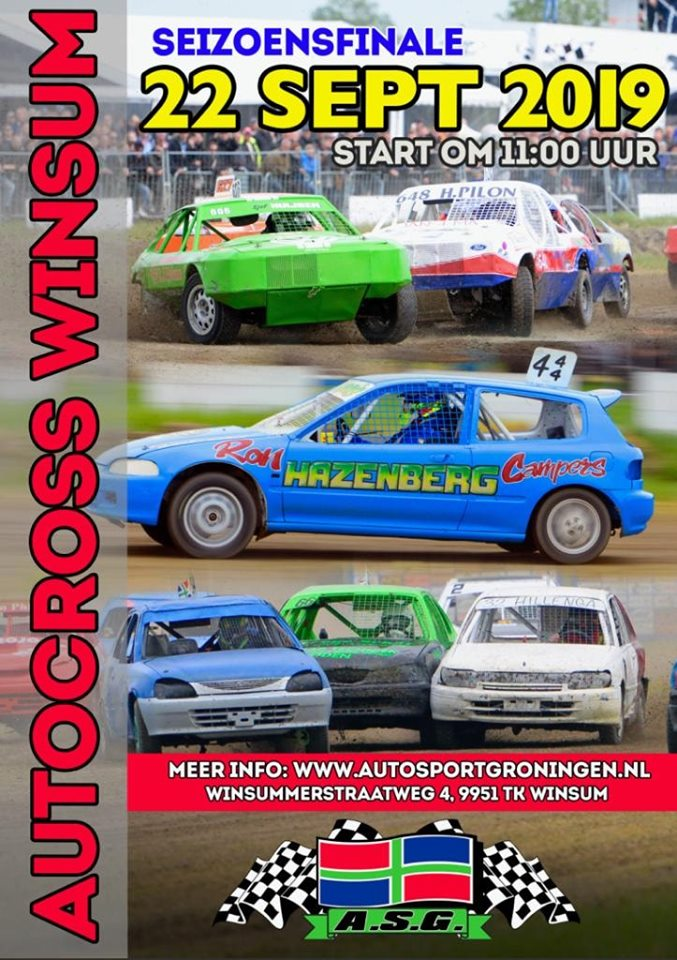 Poster Autocross Winsum zondag 22 september 2019